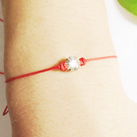 Mrs.Summer Baubles lucky red string Charm Bracelets 6mm Brilliant Crystal Zircon thin thread rope bracelets for women
