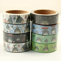 8 pcs/Lot My neighbor Totoro Japanese washi tapes 1.5cm*5m Cute masking tape Deco adhesive Stationery school stickers F889