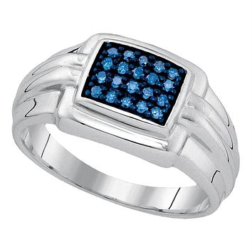 Sterling Silver Men's Round Blue Color Enhanced Diamond Wedding Band Ring 1/4 Cttw - FREE Shipping (USA/CAN)