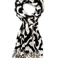 FOREVER 21 Abstract Print Fringe Scarf Black/Cream One