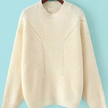 Beige Crew Neckline Knit Sweater