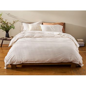 Undyed with Shadow Grid Organic Crinkled Percale Duvet