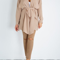Adrian Waterfall Trench Coat- Khaki
