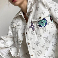 LV Louis Vuitton Embroidered Logo Fully Printed Women's Loose Shirt Jacket Top