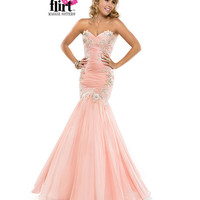 Flirt by Maggie Sottero 2014 Prom Dresses - Soft Mango Pleated Chiffon Fit & Flare Dress with Beaded Lace