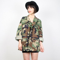 Vintage Army Jacket Camo Short Camo Jacket Army Shirt Camouflage Jacket Camouflage Shirt 1990s 90s Grunge Rigger Ranger Airborne Patches L