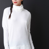 Rib Knit Turtleneck High-Low Top