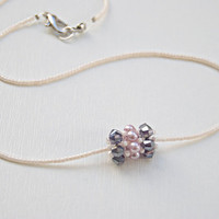 Beaded bead necklace barrel beaded pendant swarovski and pearl choker in lilac mauve and amethyst