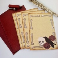 The raven and skull stationery letter set