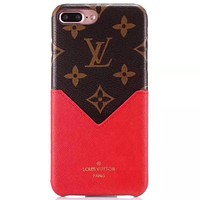 LV Tide brand leather case card anti-fall iPhone8 mobile phone case cover #4