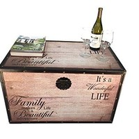Beautiful Family Large Wood Storage Trunk Wooden Treasure Chest