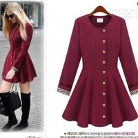 Hot Celeb Style Women Long Sleeve Round Neck Single-Breasted Dress Trench Coat (S, Wine red)