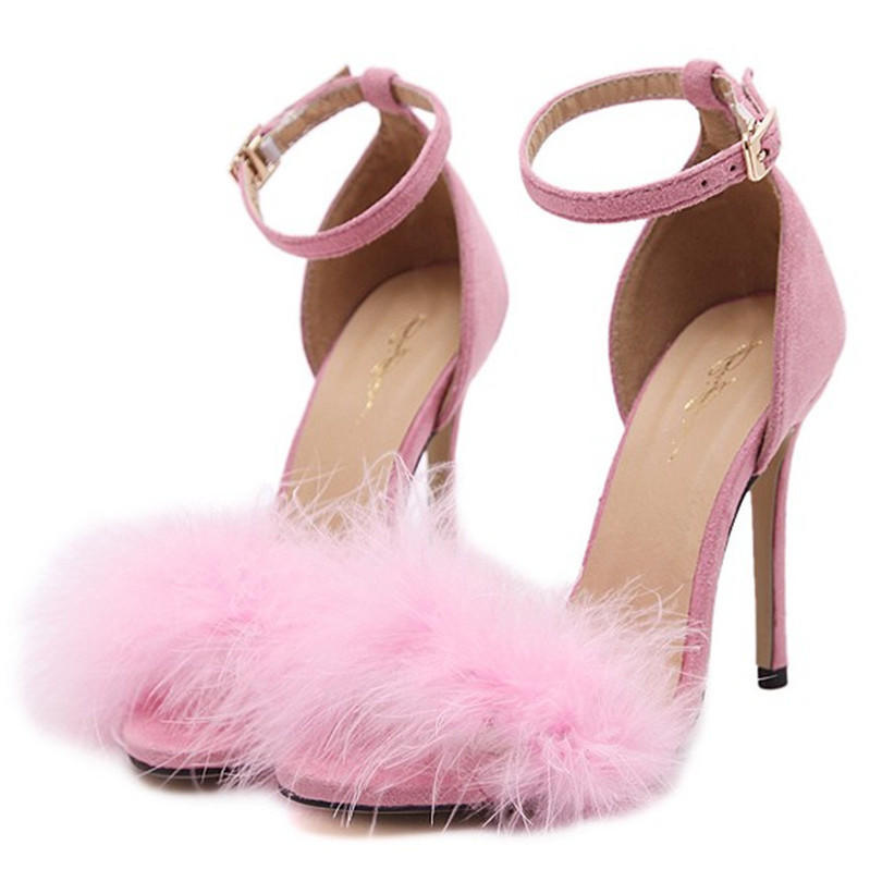 Image of Summer Fashion Feather Buckle Band Exposed Toe Sandals Heels Shoes