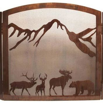 """Wildlife Collage"" Fireplace Screen - Free Ground Shipping"