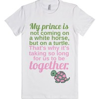 Prince Charming on a Turtle-Female White T-Shirt