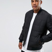 ASOS Quilted Bomber Jacket in Black at asos.com