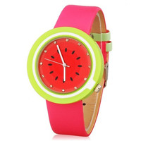 Mitina Women's Watermelon Design Water Resistant Quartz Movement Analog Watch with Faux Leather Strap (Red)