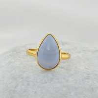 Blue Lace Agate Beautiful Pear 10x14mm Shape Micron Gold Plated 925 Sterling Silver Gemstone Ring - #4773