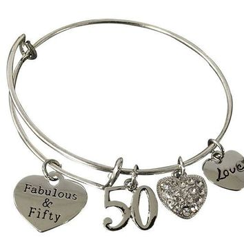 PEAP8 50th Birthday Gifts for Women, 50th Birthday Expandable Charm Bracelet, Adjustable Bangle, Perfect 50th Birthday Gift Ideas