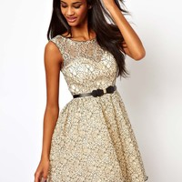 Little Mistress Belted Prom Dress in Contrast Lace