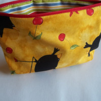 100% cotton lined  yellow Zippered pouch eco-friendly make-up bag