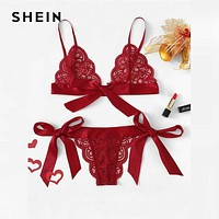 SHEIN Spicy Red Lace Sexy lingerie Set Hot Women Sleepwear V Neck Sleeveless Lace Scallop Bralette And Pantie Intimate Lingerie Macchar Cosplay Catalogue