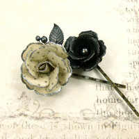 Vintage Style Flower Hair Pins - Rose Bobby Pins - Black Gunmetal Flower Hair Accessories - Swarovski Vintage Antique Style Hair Pins