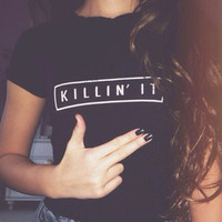Black Killing It Letters Print Short-Sleeve T-shirt