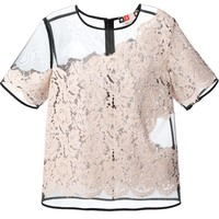MSGM Organza top with lace overlay