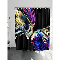 Abstract Face Print Shower Curtain With 12hooks