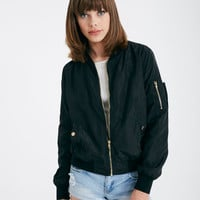 Satin Bomber Jacket | Wet Seal