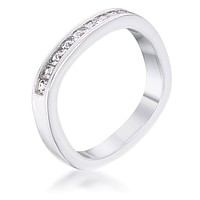.9Ct Channel Set Princess Cut Rhodium Plated Square Shaped Stackable Band JGI