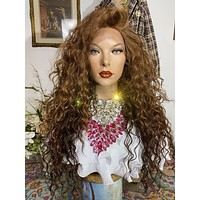 """JUST GORGEOUS BABE ! 22"""" wavy layered lace front wig + Full bangs! Side parting *Ready to wear *Fabulous"""