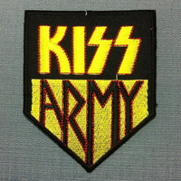 Kiss Army Embroidered Patch Iron on Badge Applique Black Yellow Ecusson DIY Supplies Hard Rock Metal Punk Music Band Logo Group Collectible