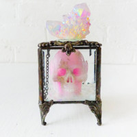 Death Over the Rainbow Beveled Glass Jewelry Box with Pink Crystal Carved Skull