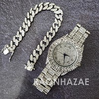 Raonhazae Silver Hip Hop Iced Lab Diamond Drizzy Drake 14K White Gold Plated Watch with 12mm Cuban Link Bracelet Set