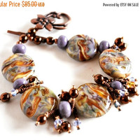 On Sale Lavender and Gold Lampwork Beaded Bracelet with Earrings, Copper Findings, Swarovski Crystals
