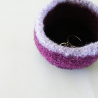 tiny felted dish - lavender, grape purple, and blackberry purple stripey wool bowl - air plant planter - ring dish - jewelry bowl