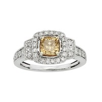 IGL Certified Champagne & White Diamond Square Halo Engagement Ring in 14k White Gold (1 1/2 Carat T.W.) (Brown)