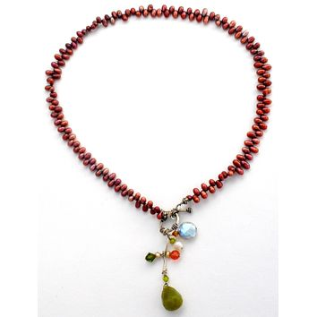 """Brown Pearl 18"""" Necklace with Gemstone Clasp"""