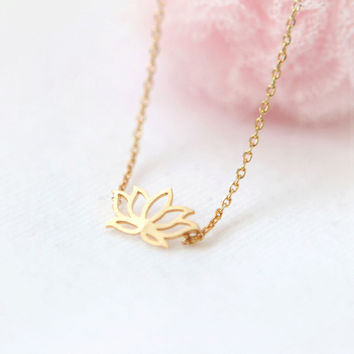 Lotus Flower Yoga Minimalist Necklace in Gold or Silver tone with Small Pendant