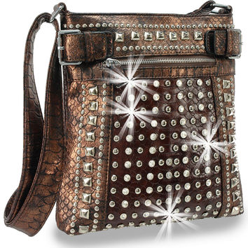 * Rhinestone and Stud Accent Metallic Cross Body Handbag In Brown