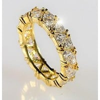 Freya Trillion Cut Eternity Gold Ring | 6ct | 18k Gold