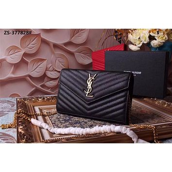 YSL SAINT LAURENT WOMEN'S HOT STYLE LEATHER INCLINED CHAIN SHOULDER BAG