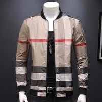 Classic plaid men's jacket jacket with autumn and winter collars