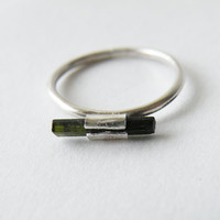 Raw Tourmaline Ring October Birthstone Green Tourmaline Jewelry Cocktail Ring by SteamyLab