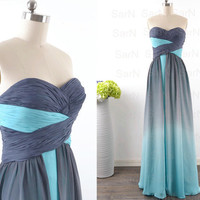 Vintage Prom Dresses, Long Strapless Two Colors Prom Gown, Custom Sweetheart Chiffon Long Formal Dresses, Wedding Party Dresses