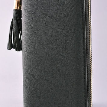 Leather Tassel Zip Wallet - Black or Ivory
