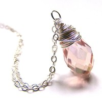 """Pink Crystal Drop Necklace Wire Wrapped on a Sterling Silver Chain 18"""" Long"""