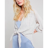 Linen Front Button Down Self-Tie Shirt in Shell